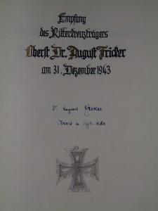 Der Eintrag in das Goldene Buch der Stadt Ludwigsburg - man beachte den falsch geschriebenen Nachnamen