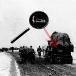 Дивизионная эмблема на конной транспортной повозке. (Марш 480-го пехотного полка из Алексина к плацдарму Кременки на реке Протва. Конец октября 1941г.).