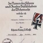 The Award Certificate for the Iron Cross IInd Class