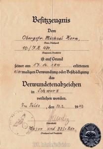 Das Verwundetenabzeichen in Schwarz samt Urkunde