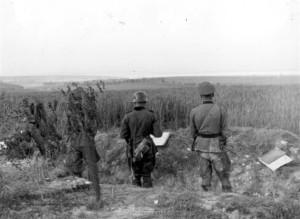 Abteilungsgefechtsstand der IV. / Artillerieregiment 260 vor der Aisne am 9.6.1940
