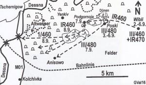 Skizze zum Angriff auf die Brücke bei Tschernigow