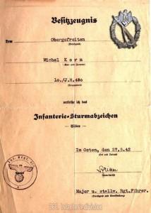 Urkunde zum Infanteriesturmabzeichen
