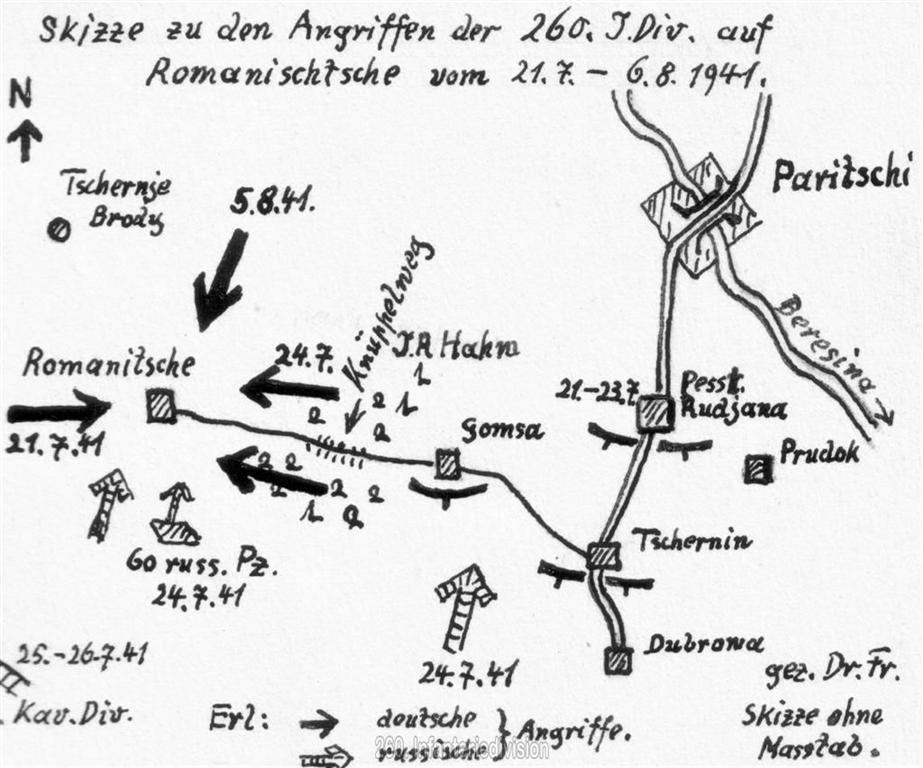 Skizze des Schlacht bei Romanischtsche