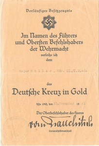 Urkunde zum Deutschen Kreuz in Gold