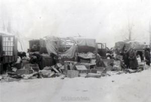 der Rest des zerstörten Divisionstross bei Nedelnoje nach Rückeroberung