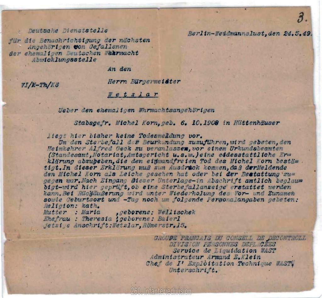 Nachricht der Deutschen Dienststelle an die Stadt Wetzlar