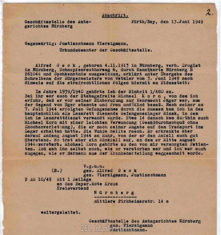 Eidesstattliche Erklärung von Alfred Geck zum Tode meines Großvaters
