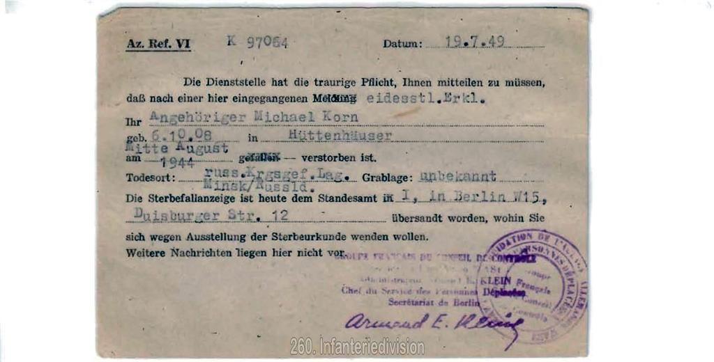 Todesnachricht der Deutschen Dienststelle - Vorderseite