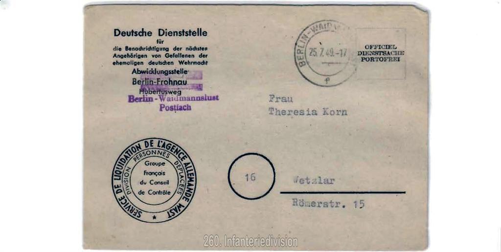 Todesnachricht der Deutschen Dienststelle - Rückseite