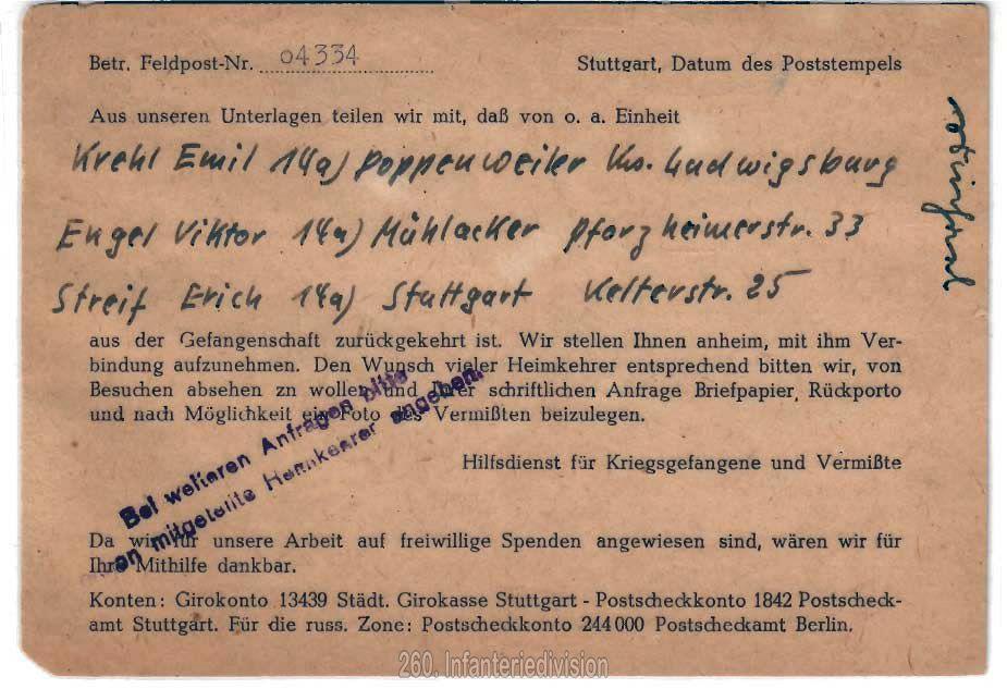 Postkarte des Hilfdienstes für Kriegsgefangene und Vermißte - Rückseite