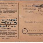 Postkarte des Hilfdienstes für Kriegsgefangene und Vermißte - Vorderseite
