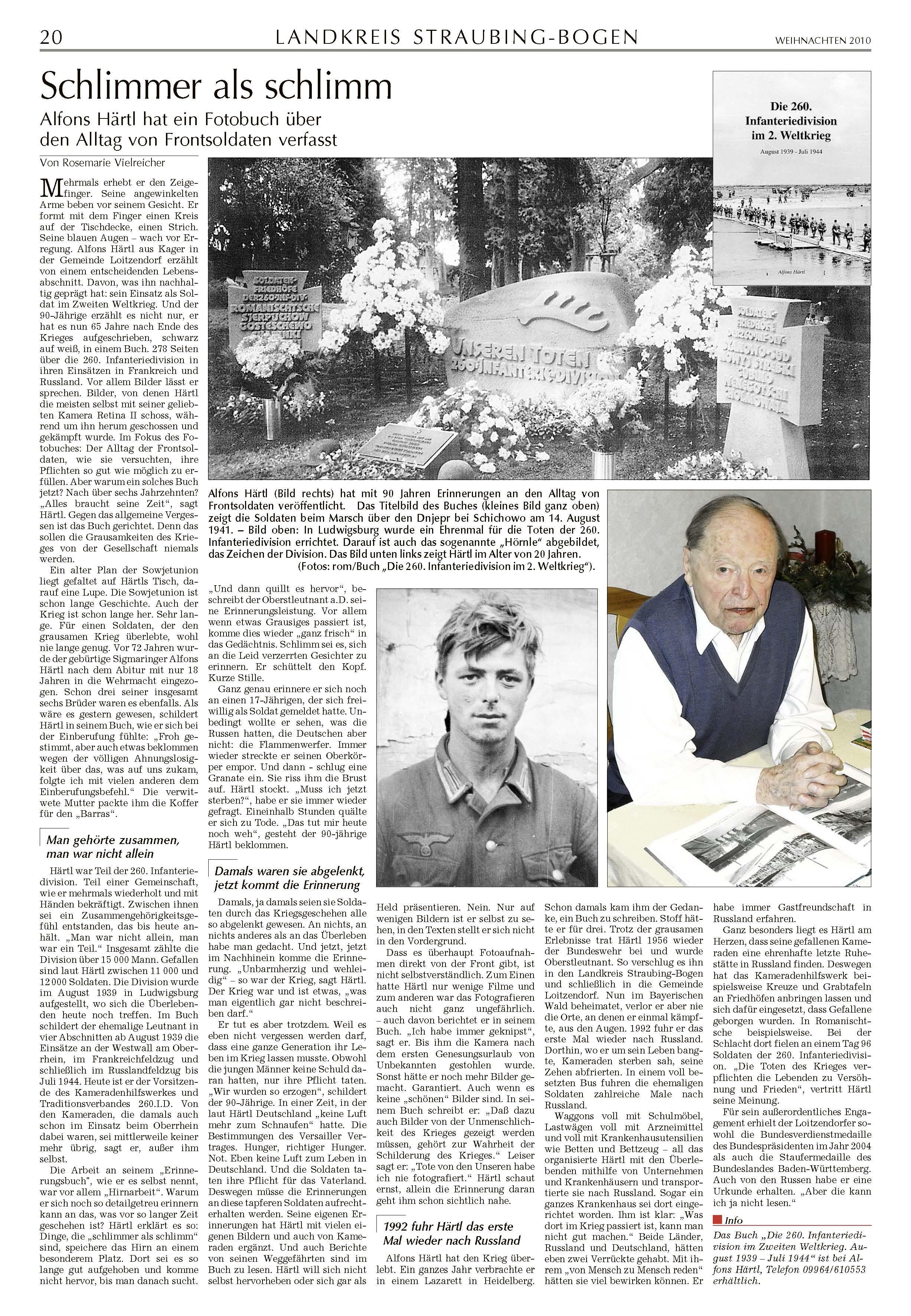 Straubinger Tagblatt vom 24.12.2010 über den neuen Bildband