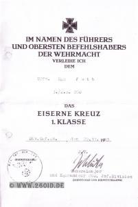 Urkunde zum EK 1