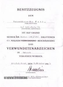 Urkunde zum Verwundetenabzeichen