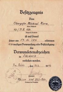 Urkunde zum Verwundetenabzeichen  in Schwarz vom 13. Februar 1942