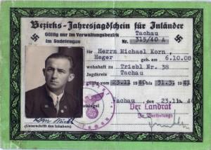Sudetengau-Jagdschein vom 23. November 1940, Seite 1