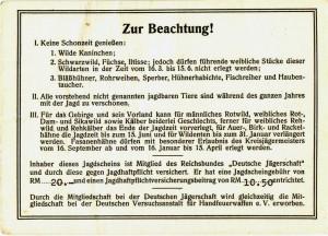Sudetengau-Jagdschein vom 23. November 1940, Seite 3
