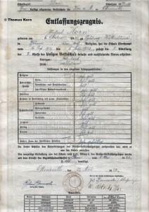 Entlassungszeugnis der Volksschule vom 27. Mai 1925