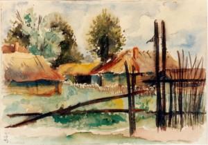 0275 Dorf im Sommer - Aquarell von W.Spitzer_1
