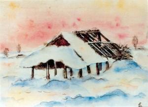 0348 Russischer Winter - Aquarell von W.Spitzer_1